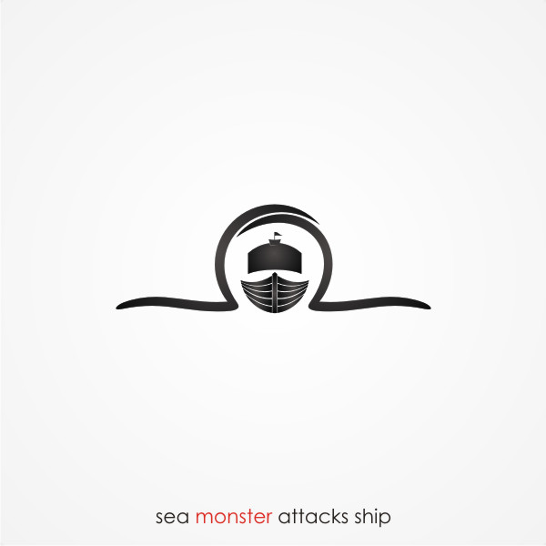 Logo Design by Private User - Entry No. 10 in the Logo Design Contest Sea Monster Attacks Ship.