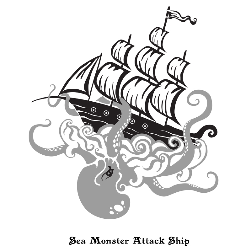 Logo Design by Kovacs Katalin - Entry No. 19 in the Logo Design Contest Sea Monster Attacks Ship.