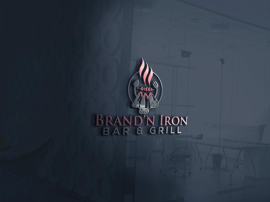 Logo Design by Abu Backar - Entry No. 127 in the Logo Design Contest Captivating Logo Design for Brand'n Iron Bar & Grill.
