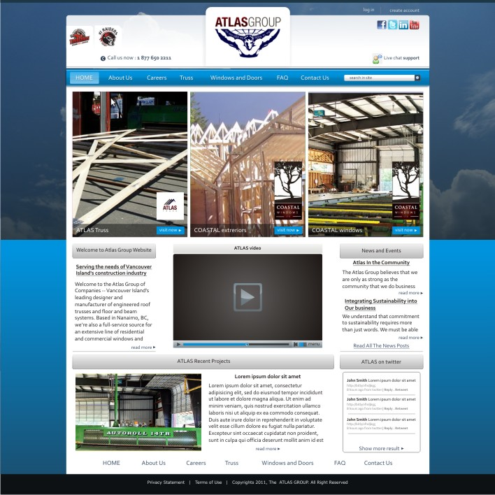 Web Page Design by ben35dan - Entry No. 20 in the Web Page Design Contest The Atlas Group Website.