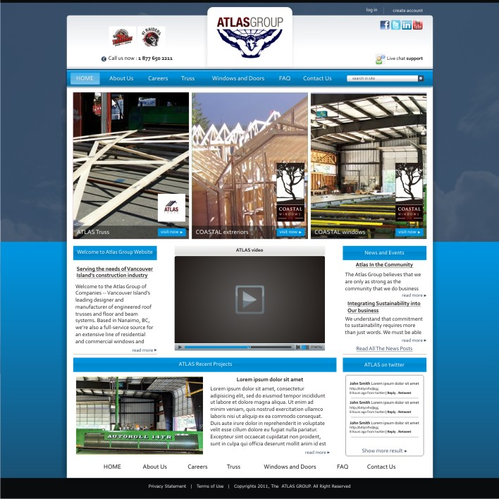 Web Page Design by ben35dan - Entry No. 21 in the Web Page Design Contest The Atlas Group Website.