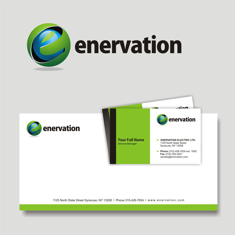 Business Card Design by Heru budi Santoso - Entry No. 32 in the Business Card Design Contest Enervation Logo Design.