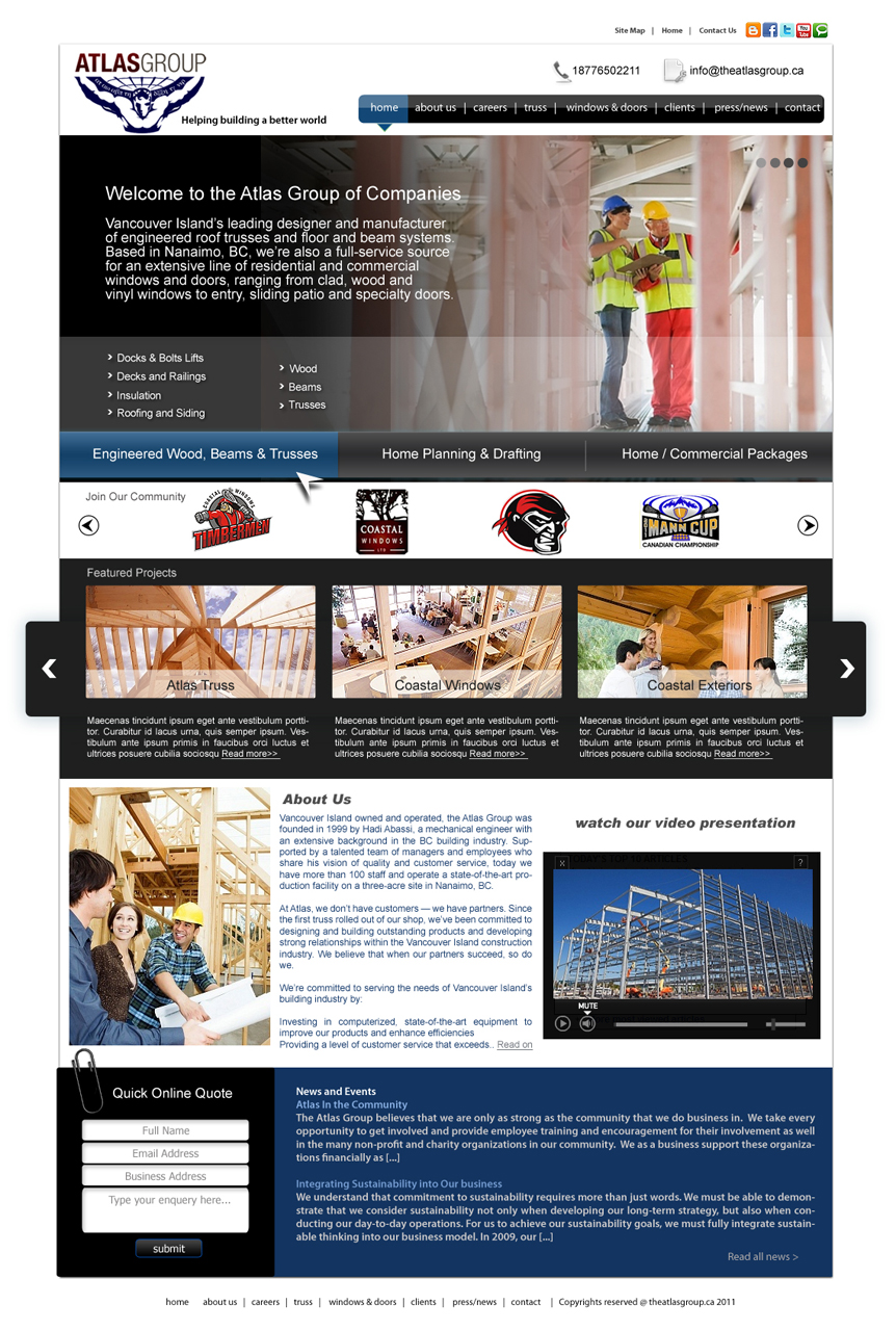 Web Page Design by Private User - Entry No. 54 in the Web Page Design Contest The Atlas Group Website.