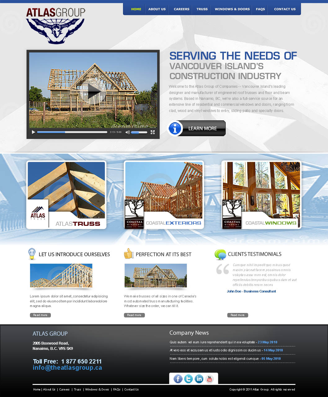 Web Page Design by Farhan Zafar - Entry No. 63 in the Web Page Design Contest The Atlas Group Website.