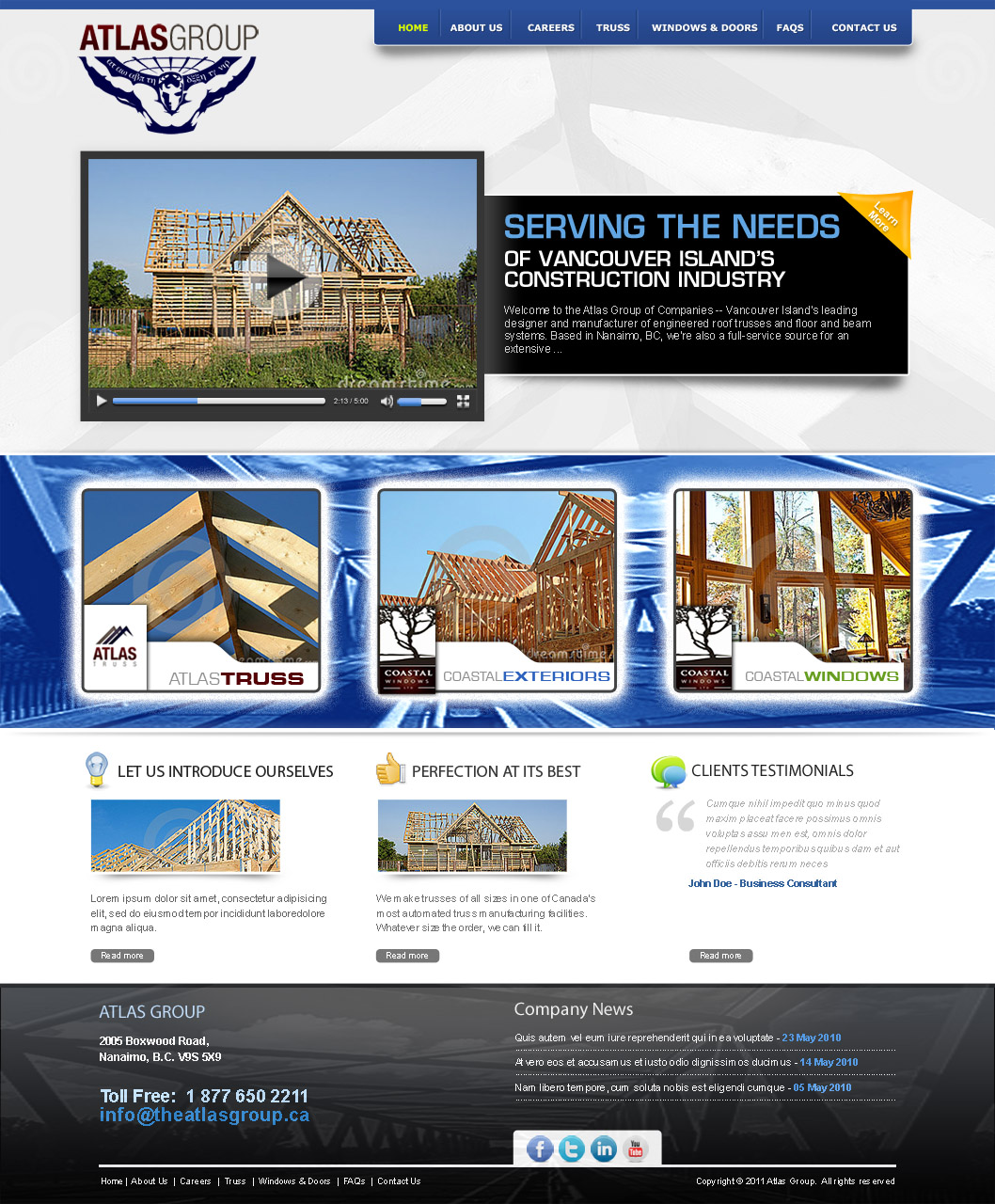 Web Page Design by Farhan Zafar - Entry No. 76 in the Web Page Design Contest The Atlas Group Website.