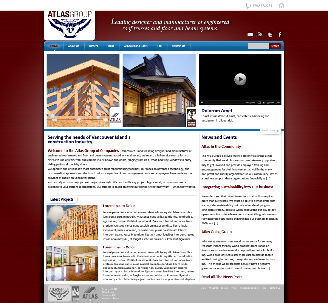 Web Page Design by zesthar - Entry No. 78 in the Web Page Design Contest The Atlas Group Website.