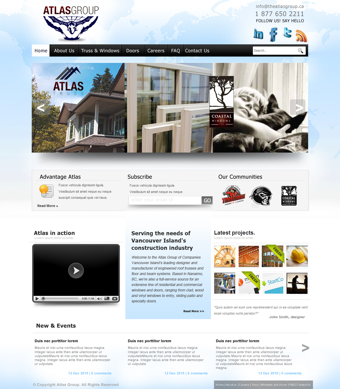 Web Page Design by haricane - Entry No. 82 in the Web Page Design Contest The Atlas Group Website.