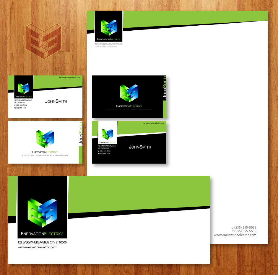 Business Card Design by zesthar - Entry No. 106 in the Business Card Design Contest Enervation Logo Design.