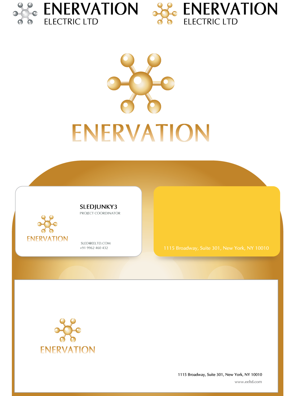 Business Card Design by Mithra  Ravindran - Entry No. 128 in the Business Card Design Contest Enervation Logo Design.