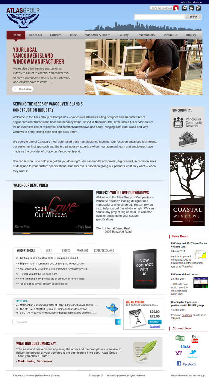 Web Page Design by Mithra  Ravindran - Entry No. 100 in the Web Page Design Contest The Atlas Group Website.