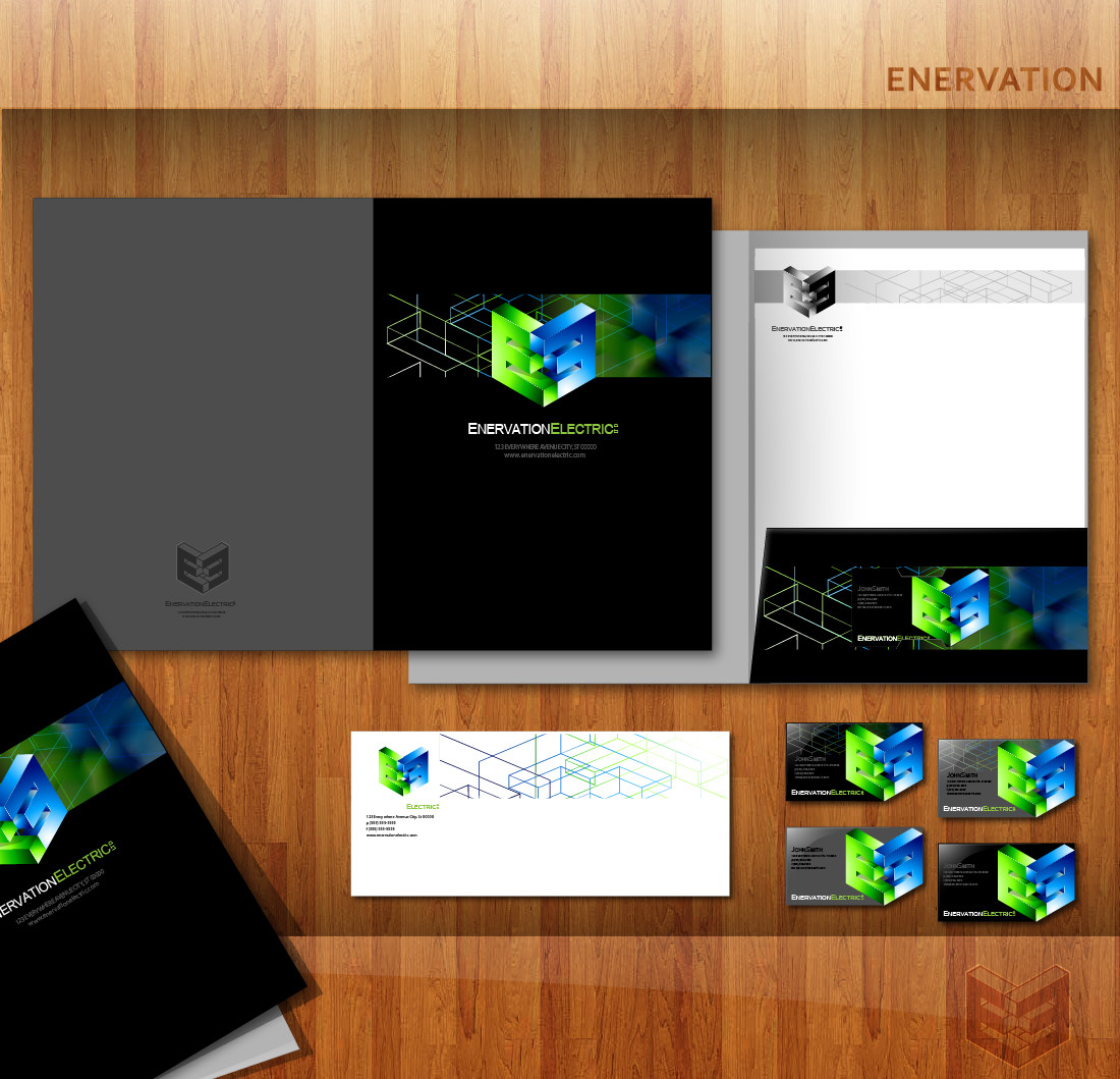 Business Card Design by zesthar - Entry No. 159 in the Business Card Design Contest Enervation Logo Design.