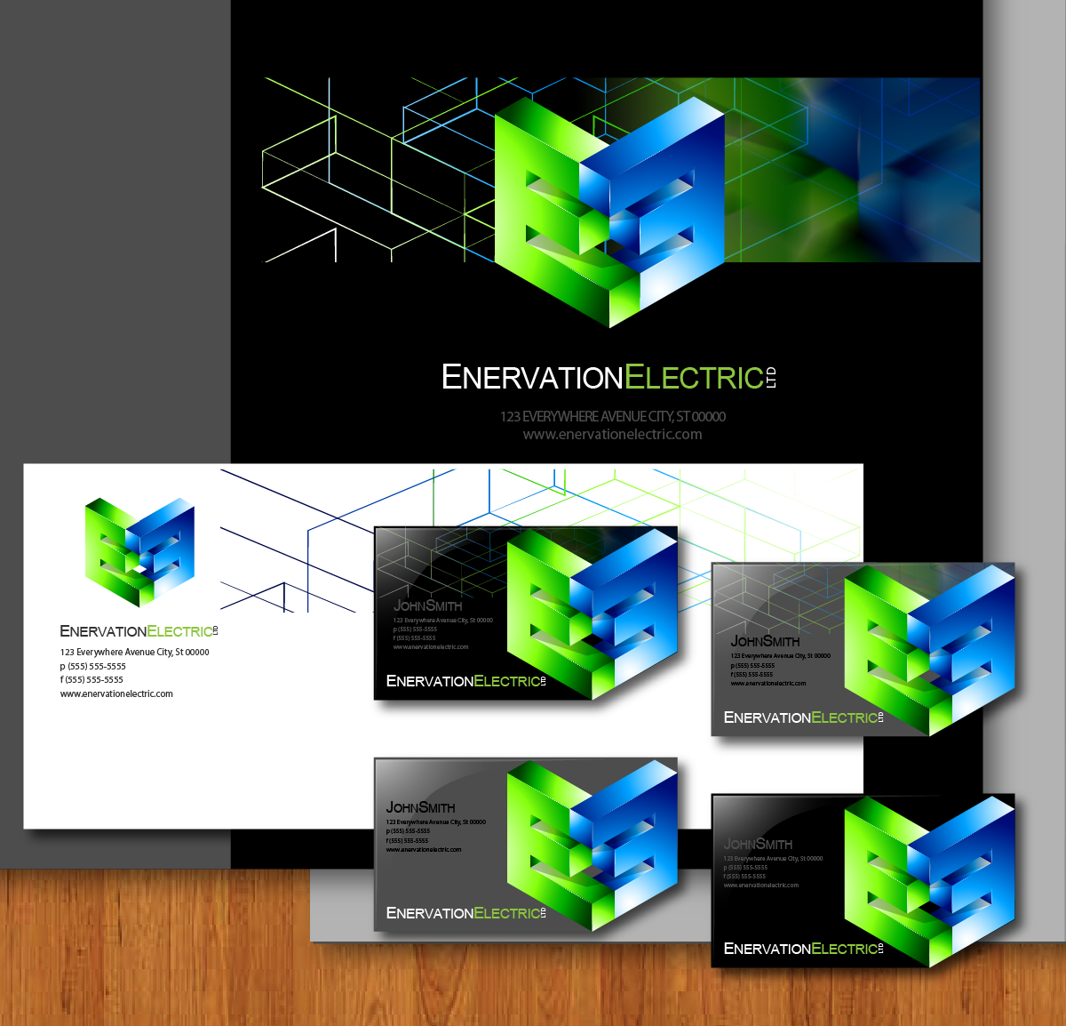 Business Card Design by zesthar - Entry No. 161 in the Business Card Design Contest Enervation Logo Design.