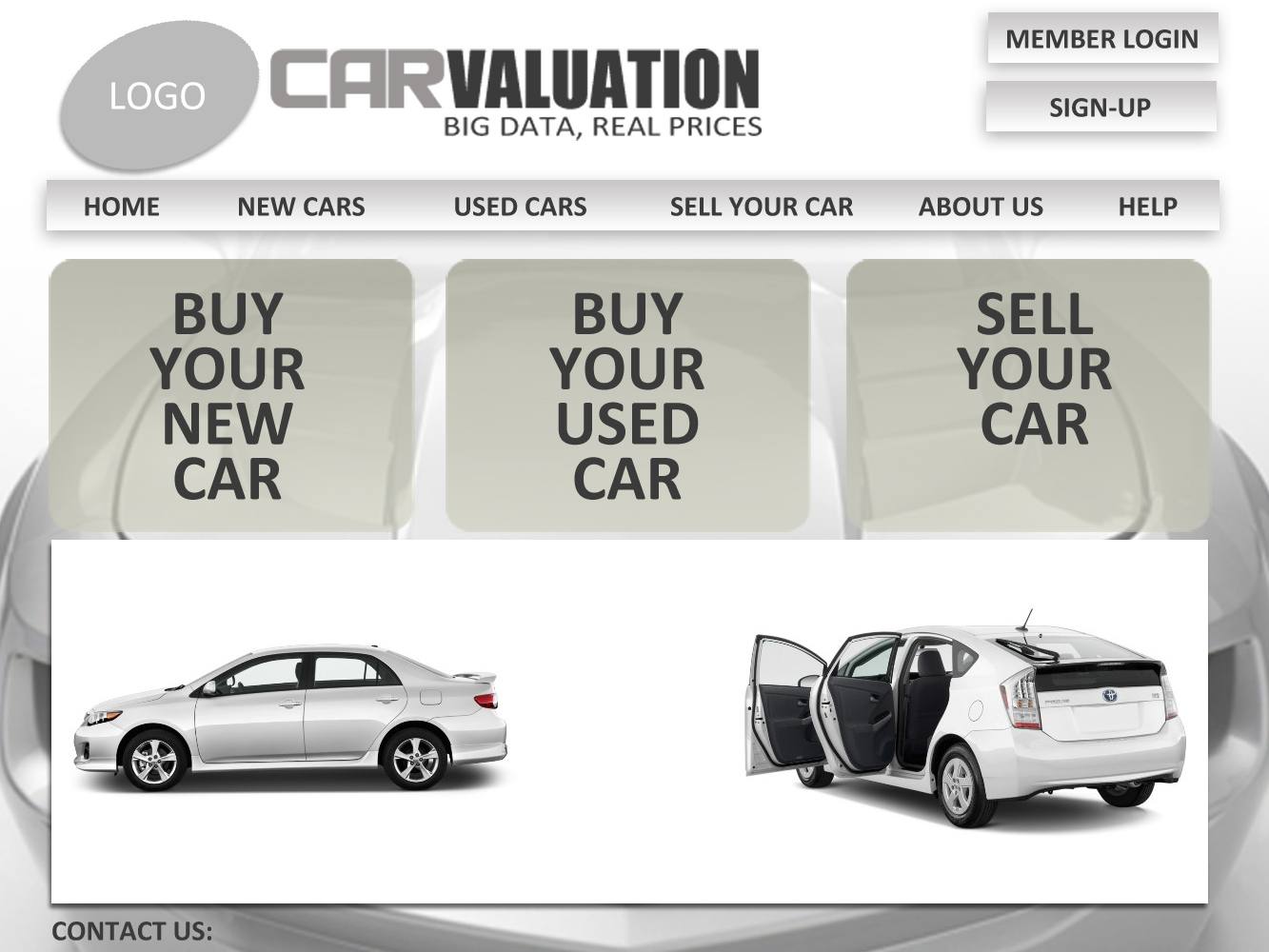 Web Page Design by Private User - Entry No. 28 in the Web Page Design Contest Car valuation Web Page Design.