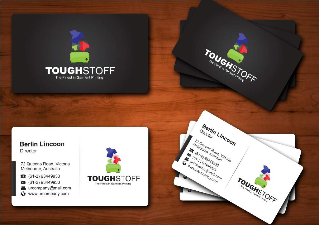 Business Card Design by ardinonino - Entry No. 8 in the Business Card Design Contest Toughstoff Stationery.