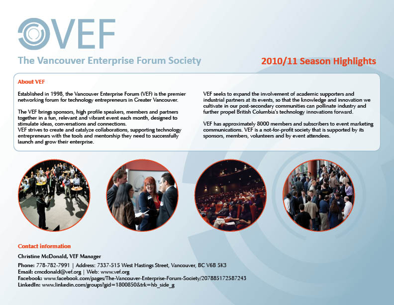 Print Design by Ilse Beirens - Entry No. 5 in the Print Design Contest Vancouver Enterprise Forum (VEF) Season Highlights.