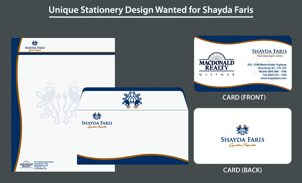 Business Card Design by rockin - Entry No. 19 in the Business Card Design Contest Unique Stationery Design Wanted for Shayda Faris.