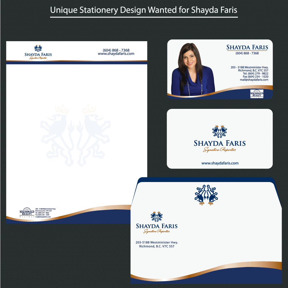 Business Card Design by rockin - Entry No. 41 in the Business Card Design Contest Unique Stationery Design Wanted for Shayda Faris.