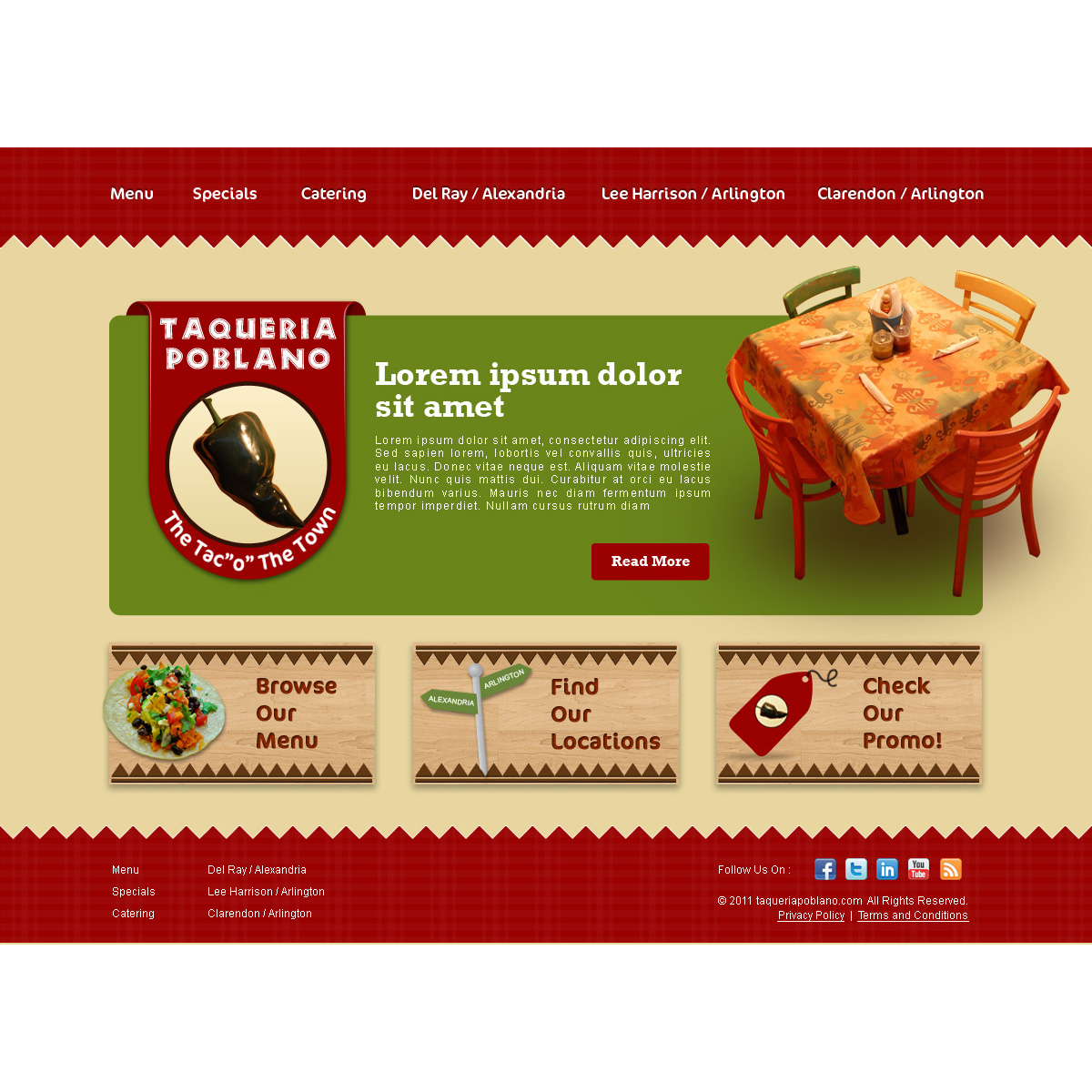 Web Page Design by suke - Entry No. 7 in the Web Page Design Contest New Web Page Design for Southwestern restaurant.