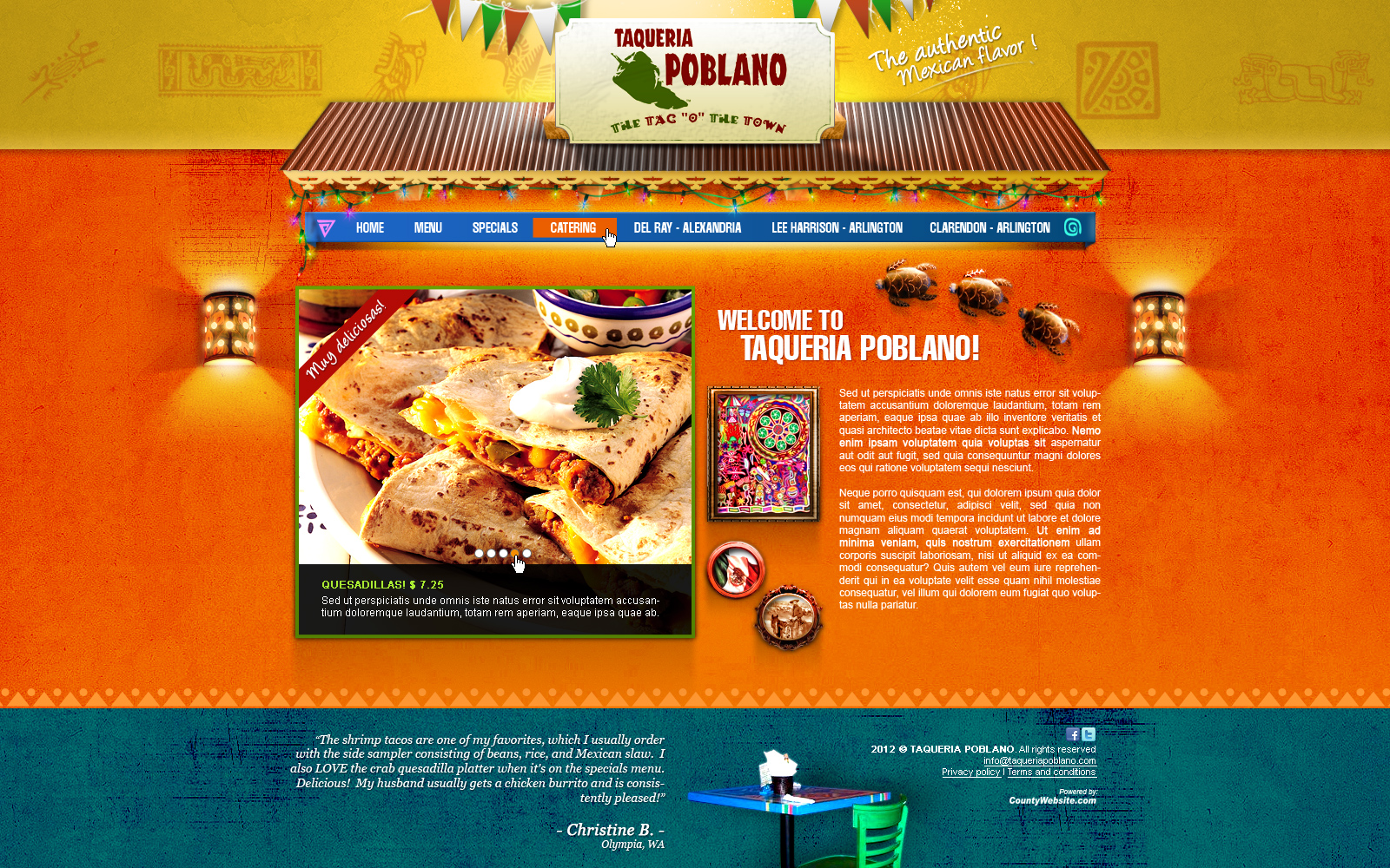 Web Page Design by John - Entry No. 13 in the Web Page Design Contest New Web Page Design for Southwestern restaurant.