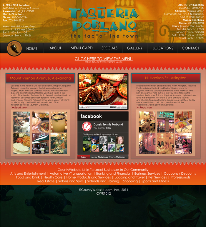 Web Page Design by Rendra Jannu - Entry No. 18 in the Web Page Design Contest New Web Page Design for Southwestern restaurant.