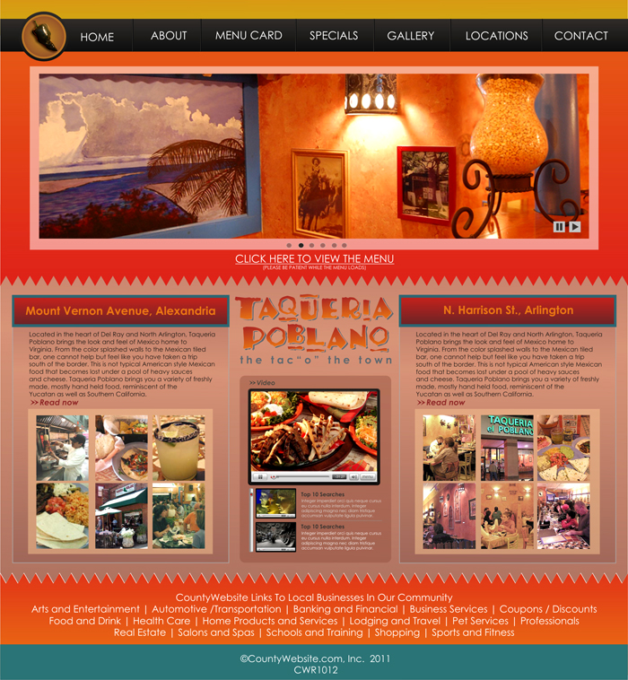 Web Page Design by Rendra Jannu - Entry No. 19 in the Web Page Design Contest New Web Page Design for Southwestern restaurant.