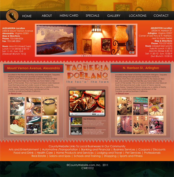 Web Page Design by Rendra Jannu - Entry No. 20 in the Web Page Design Contest New Web Page Design for Southwestern restaurant.