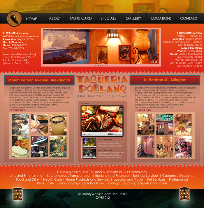 Web Page Design by Rendra Jannu - Entry No. 22 in the Web Page Design Contest New Web Page Design for Southwestern restaurant.