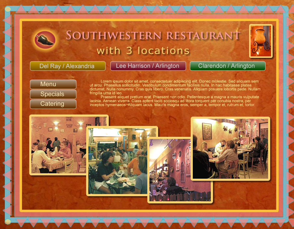 Web Page Design by Gog - Entry No. 23 in the Web Page Design Contest New Web Page Design for Southwestern restaurant.