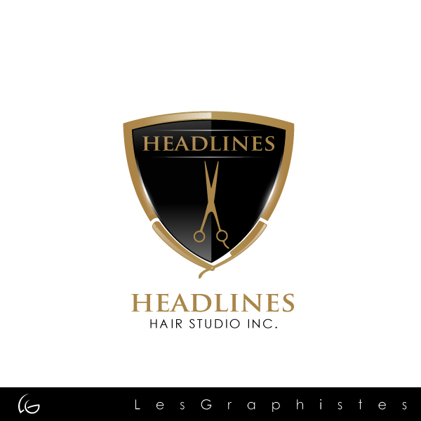 Logo Design by Les-Graphistes - Entry No. 44 in the Logo Design Contest Fun Logo Design for HEADLINES HAIR STUDIO INC.