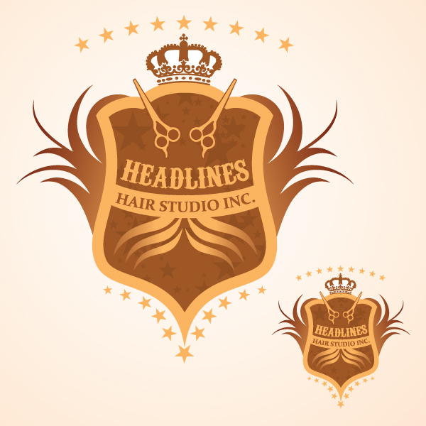 Logo Design by Private User - Entry No. 87 in the Logo Design Contest Fun Logo Design for HEADLINES HAIR STUDIO INC.