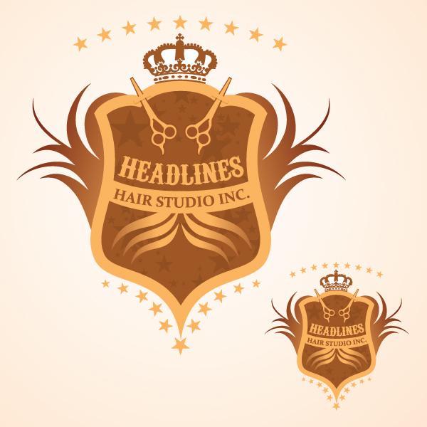 Logo Design by Private User - Entry No. 92 in the Logo Design Contest Fun Logo Design for HEADLINES HAIR STUDIO INC.