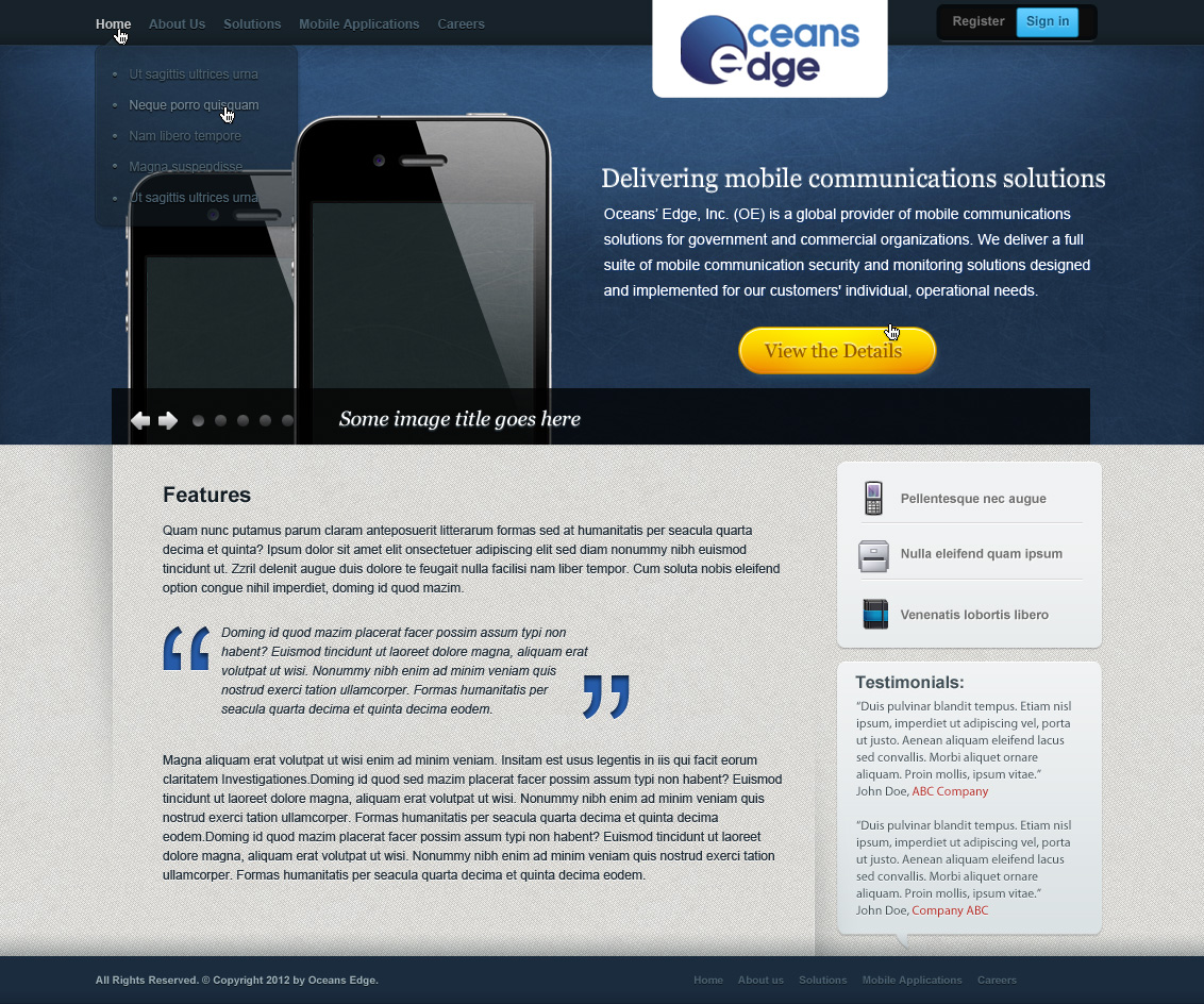 Web Page Design by yolega - Entry No. 7 in the Web Page Design Contest Web Page Design Needed for Company Oceans Edge Inc!.