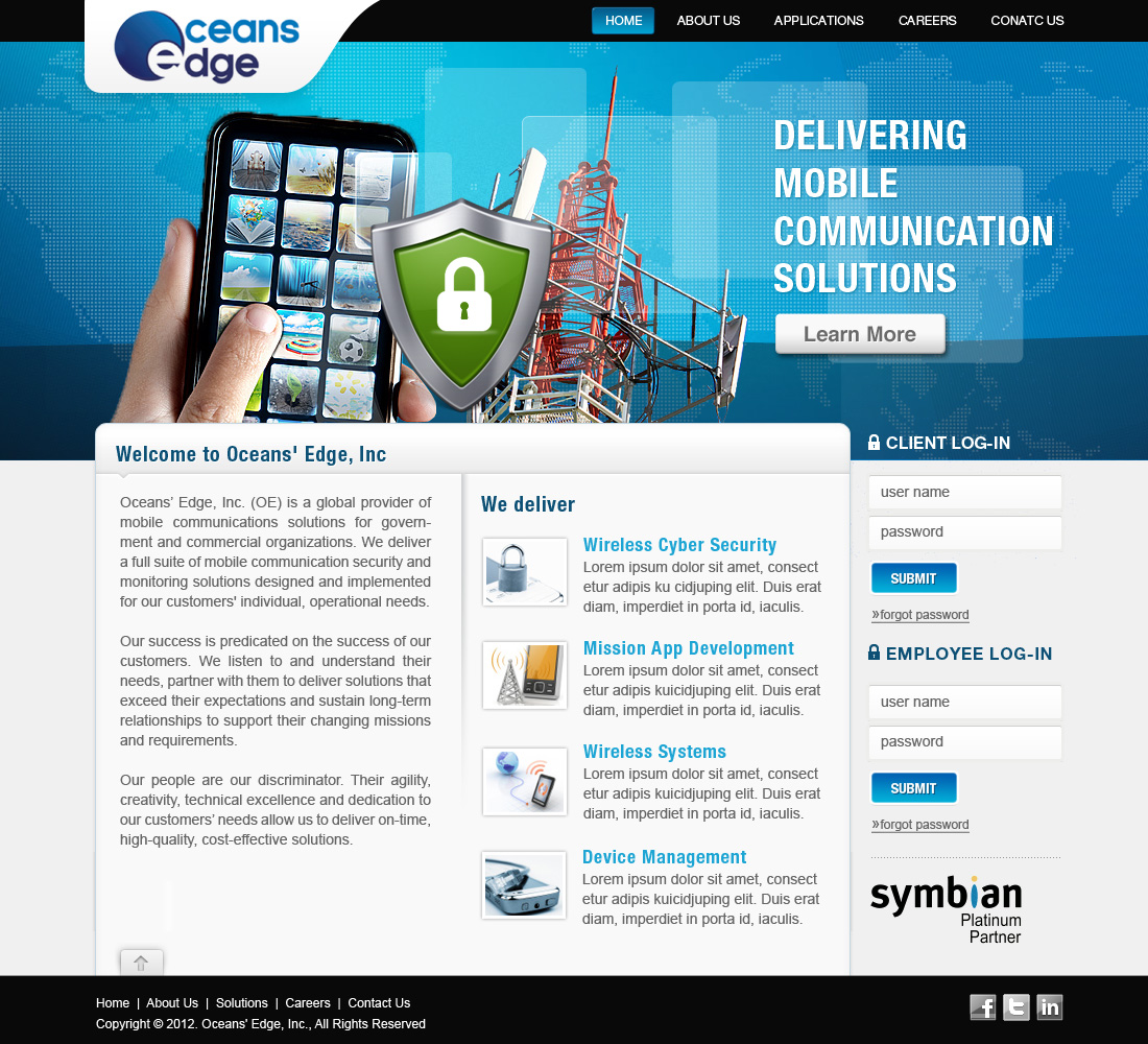 Web Page Design by skyram - Entry No. 17 in the Web Page Design Contest Web Page Design Needed for Company Oceans Edge Inc!.