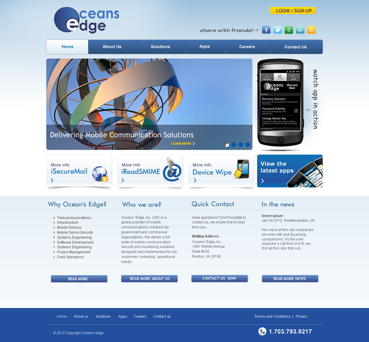Web Page Design by smartinfo - Entry No. 22 in the Web Page Design Contest Web Page Design Needed for Company Oceans Edge Inc!.