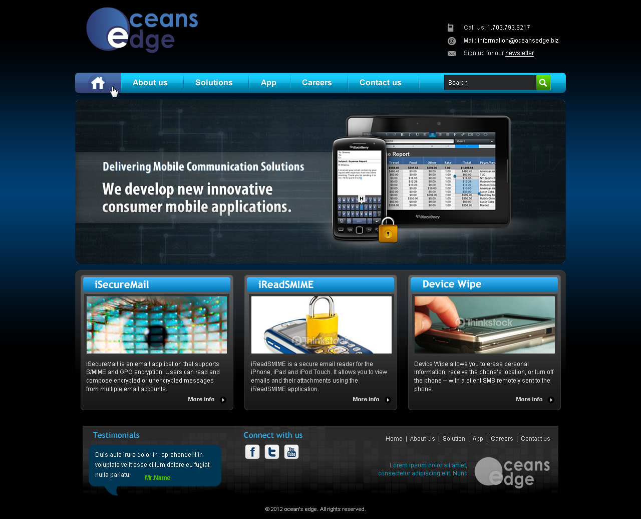 Web Page Design by smartinfo - Entry No. 37 in the Web Page Design Contest Web Page Design Needed for Company Oceans Edge Inc!.