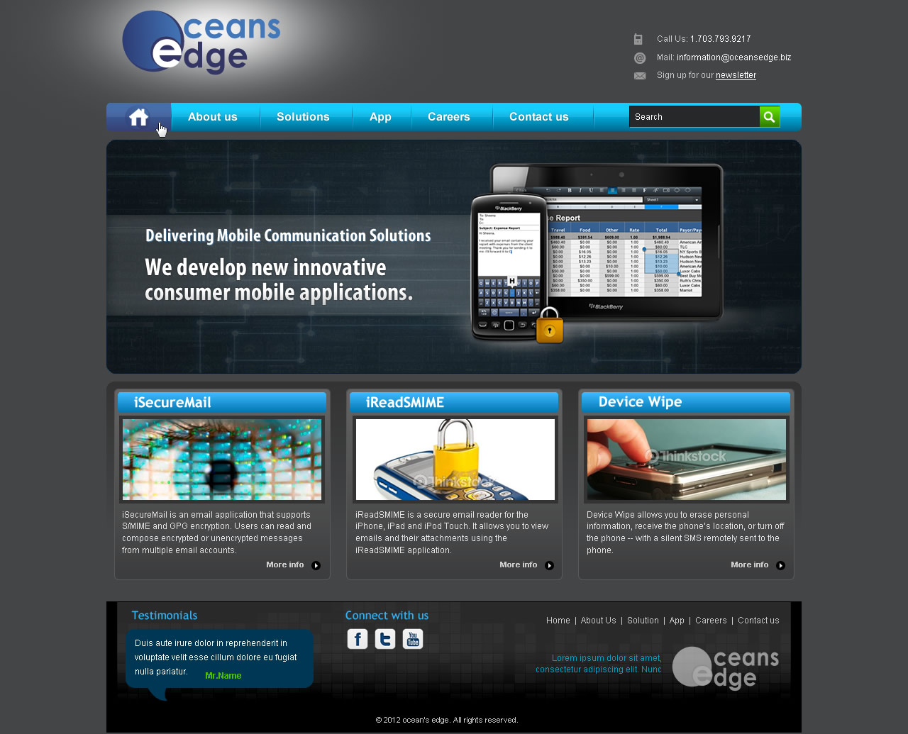 Web Page Design by smartinfo - Entry No. 40 in the Web Page Design Contest Web Page Design Needed for Company Oceans Edge Inc!.