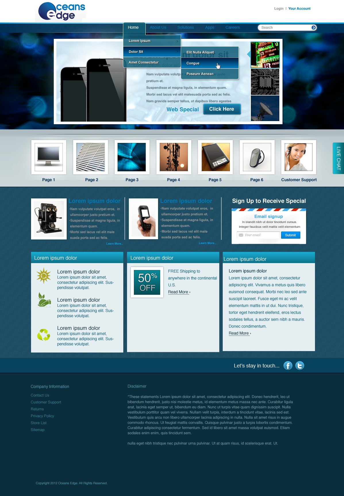 Web Page Design by yolega - Entry No. 47 in the Web Page Design Contest Web Page Design Needed for Company Oceans Edge Inc!.