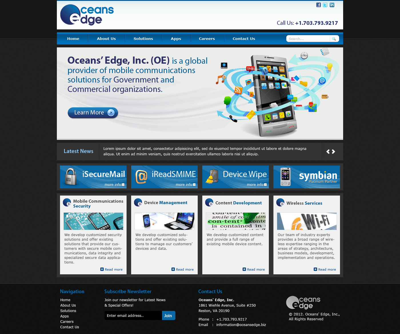 Web Page Design by Private User - Entry No. 58 in the Web Page Design Contest Web Page Design Needed for Company Oceans Edge Inc!.