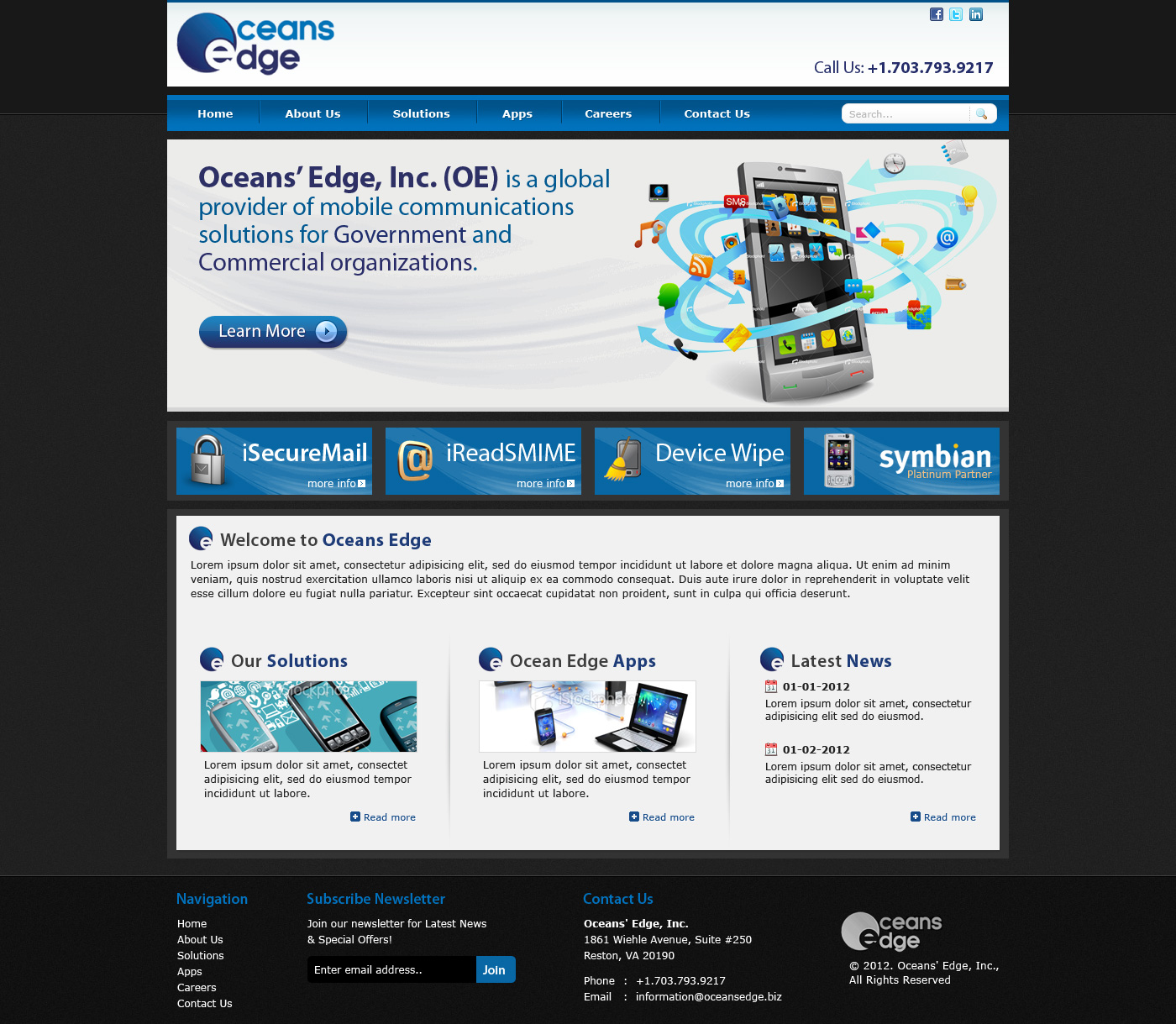 Web Page Design by Private User - Entry No. 59 in the Web Page Design Contest Web Page Design Needed for Company Oceans Edge Inc!.
