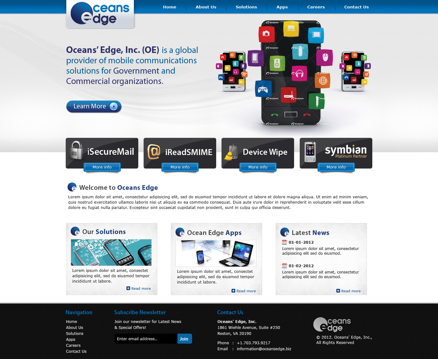 Web Page Design by Private User - Entry No. 64 in the Web Page Design Contest Web Page Design Needed for Company Oceans Edge Inc!.