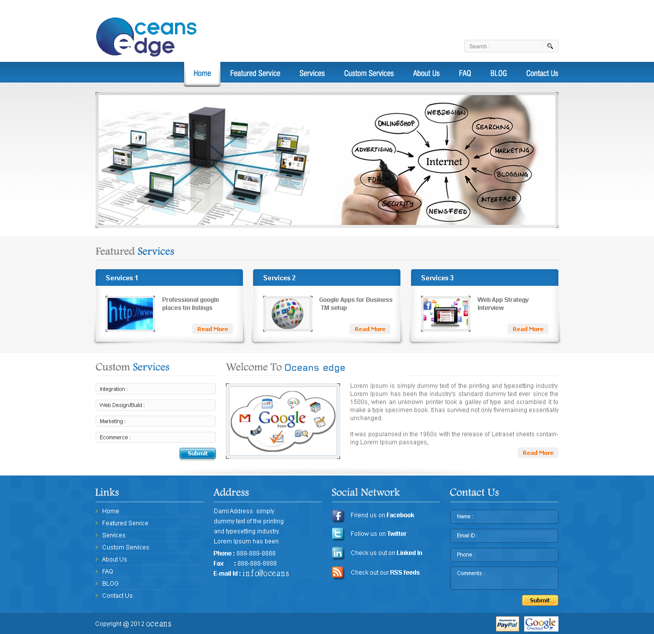 Web Page Design by Nazim - Entry No. 71 in the Web Page Design Contest Web Page Design Needed for Company Oceans Edge Inc!.