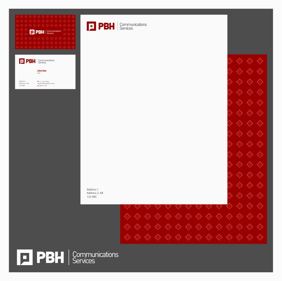 Business Card Design by Private User - Entry No. 5 in the Business Card Design Contest PBH Communications Services Stationery Design.