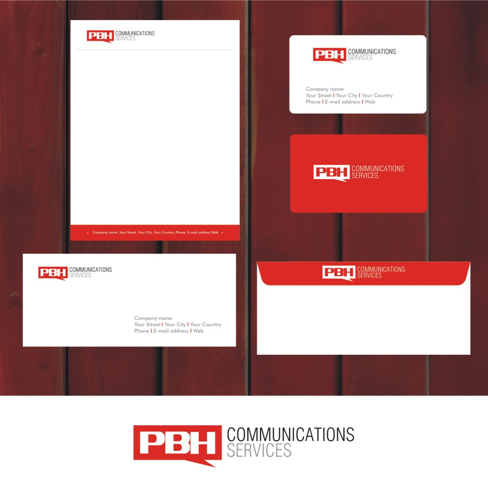 Business Card Design by Private User - Entry No. 9 in the Business Card Design Contest PBH Communications Services Stationery Design.