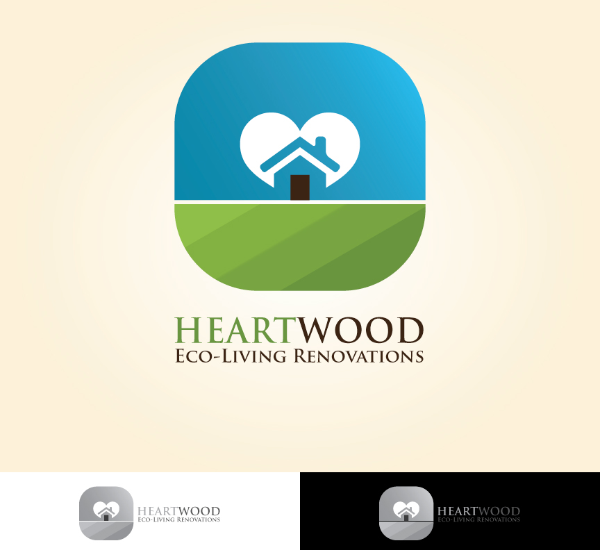 Logo Design by dottDesign - Entry No. 43 in the Logo Design Contest New Logo Design for Heartwood Eco-Living Renovations.