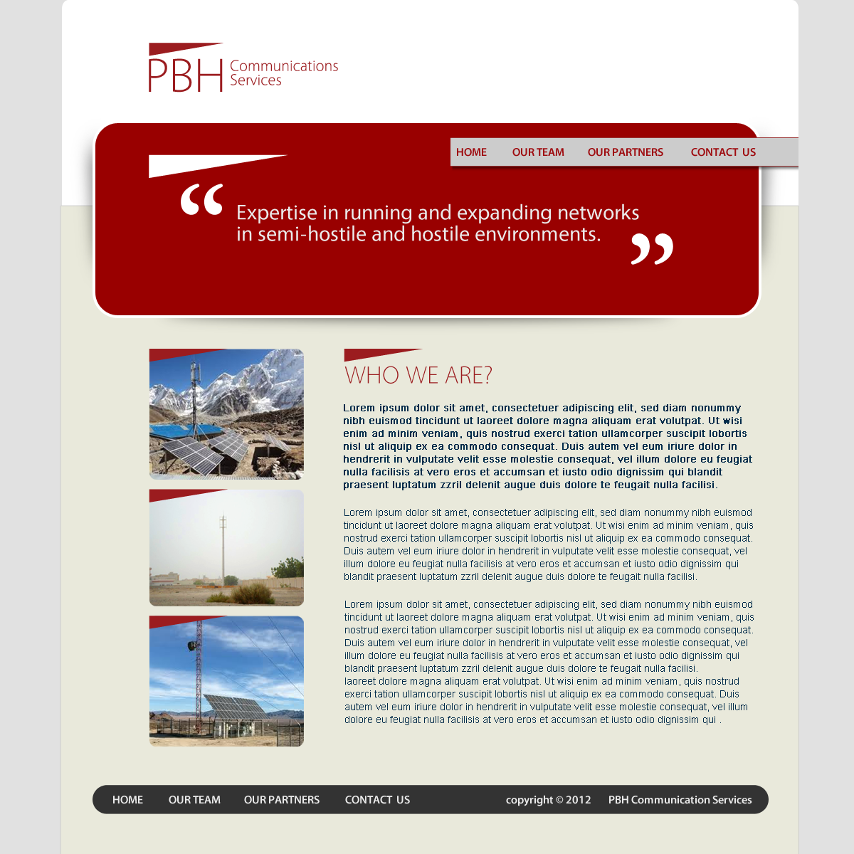 Web Page Design by storm - Entry No. 8 in the Web Page Design Contest New Web Page Design for PBH Communications Services.
