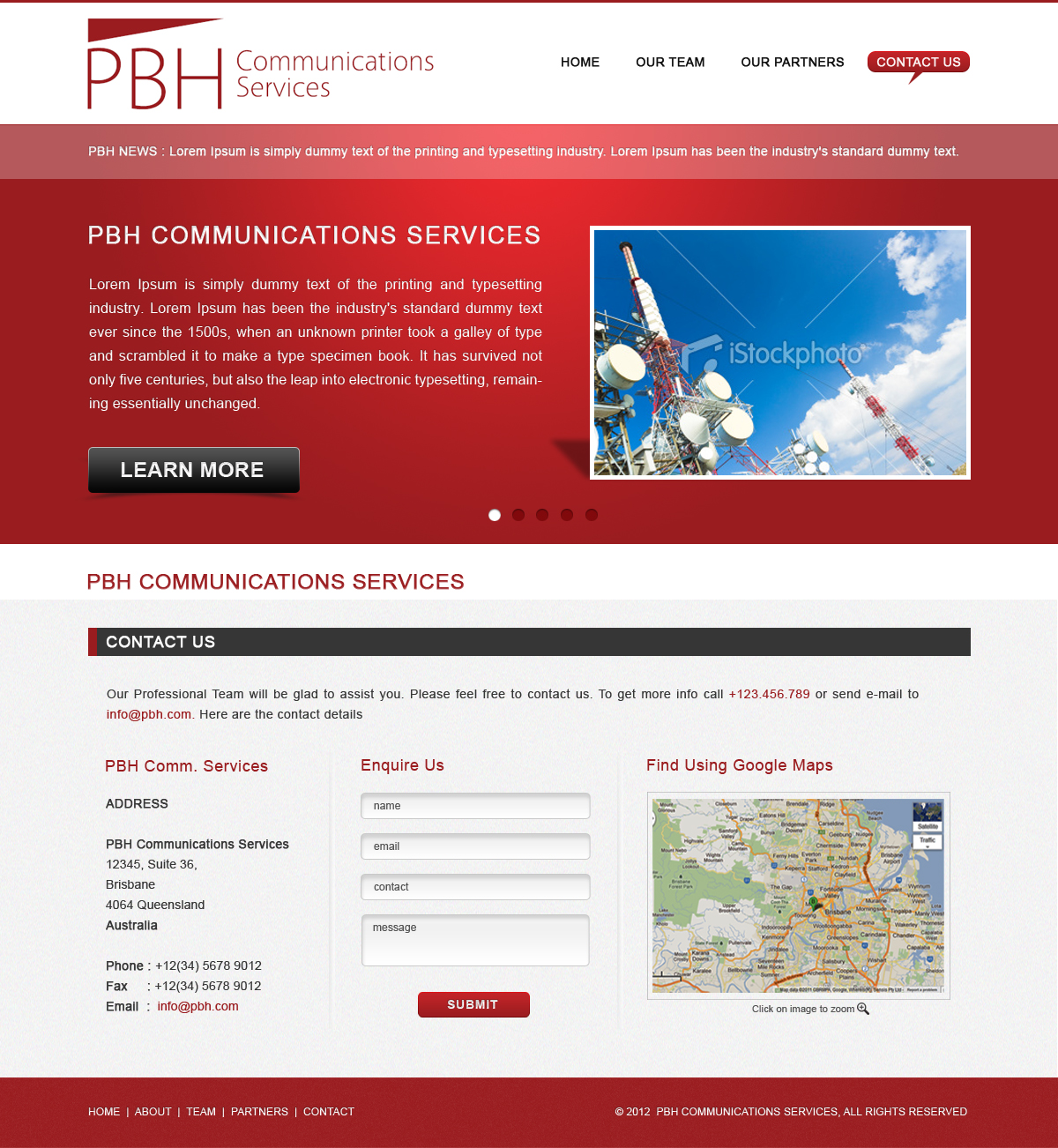Web Page Design by Sohil Obor - Entry No. 41 in the Web Page Design Contest New Web Page Design for PBH Communications Services.