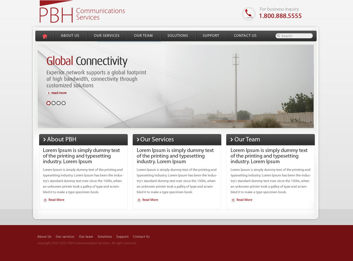 Web Page Design by Abhijeet Singh - Entry No. 50 in the Web Page Design Contest New Web Page Design for PBH Communications Services.