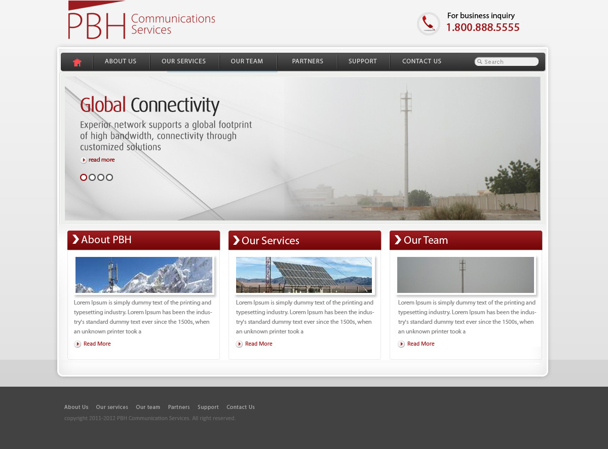 Web Page Design by Abhijeet Singh - Entry No. 51 in the Web Page Design Contest New Web Page Design for PBH Communications Services.