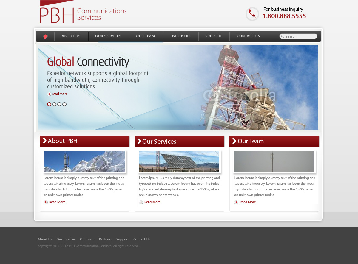 Web Page Design by Abhijeet Singh - Entry No. 52 in the Web Page Design Contest New Web Page Design for PBH Communications Services.