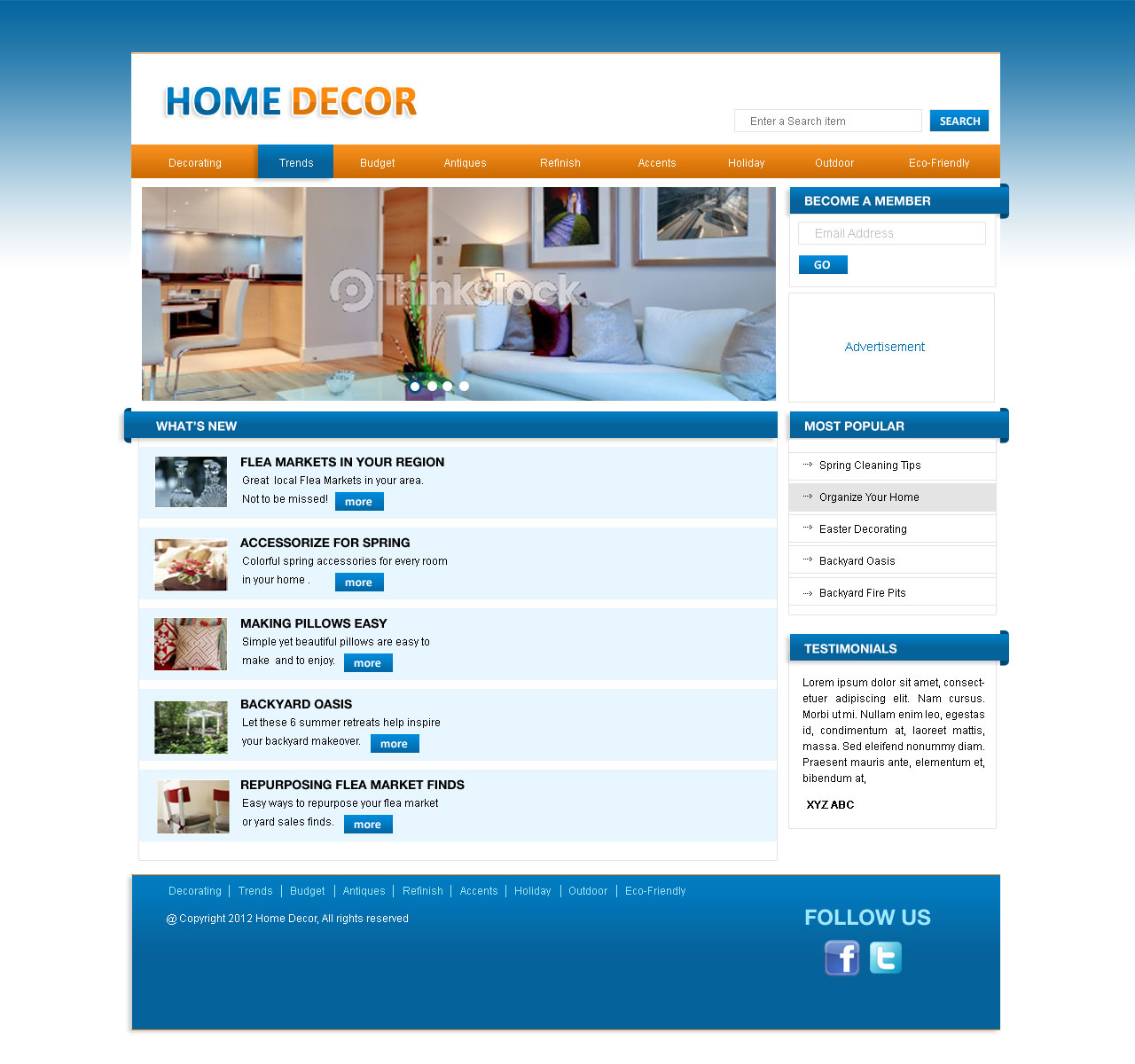 Web Page Design by Private User - Entry No. 2 in the Web Page Design Contest Unique Web Page Design Wanted for Homepage mock up for Home Decor.